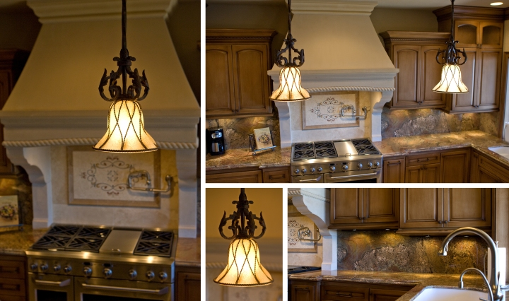 Proper lighting is essential. The artisan pendant fixtures are not only beautiful compliments to the palette, but provide elegant task lighting. The under-cabinet puck lights supply full integration into the finished underside of the cabinets while accentuating the details in the granite.