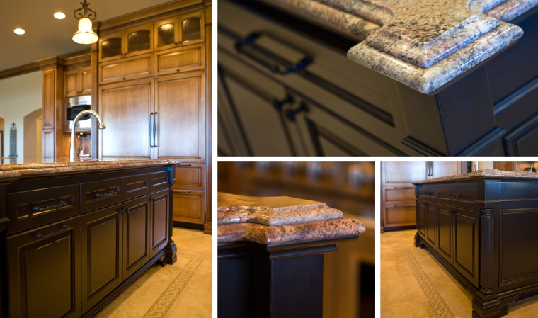 The jewel of the kitchen is accentuated with its dark espresso finish and surrounding mosaic border. Unique yet, complementary details are created for this extraordinary masterpiece.