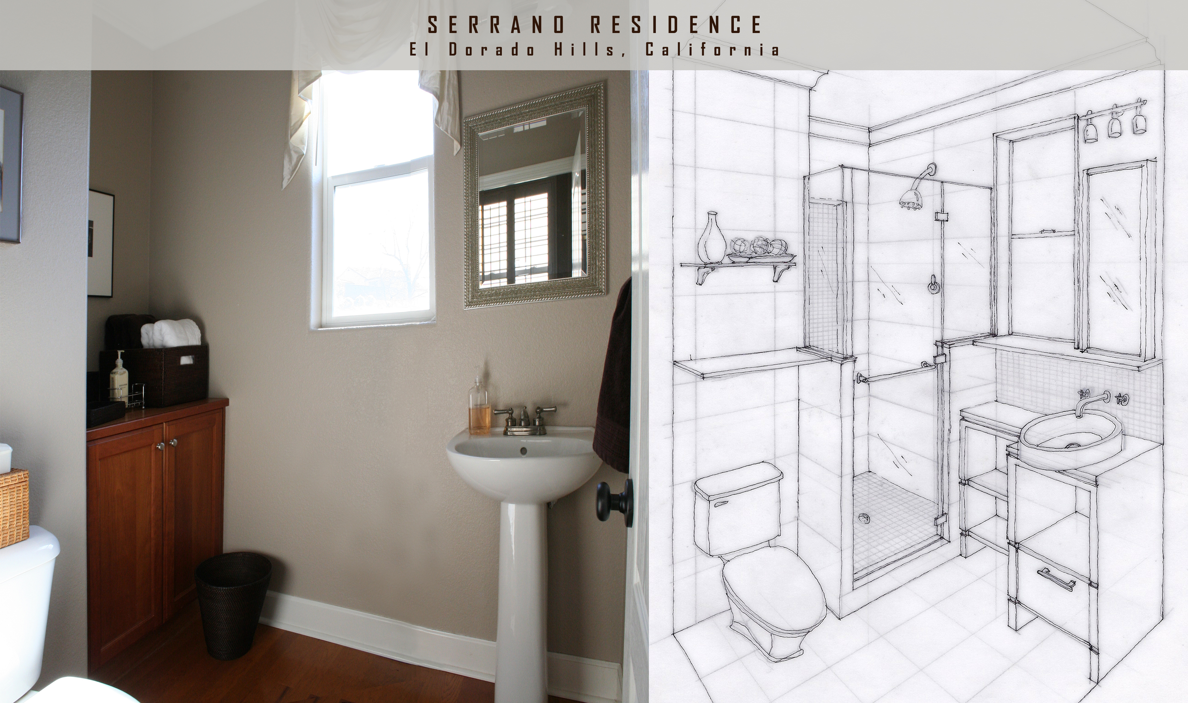 Bathroom drawing design - Bathroom Design Concept In Which A Shower And Vanity Are Added
