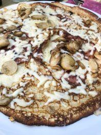 Ham, mushroom and cheese pannenkoek
