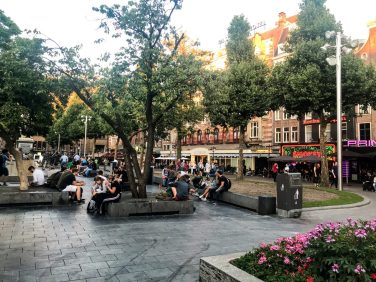 Rembrandtplein (square) surrounded by restaurants