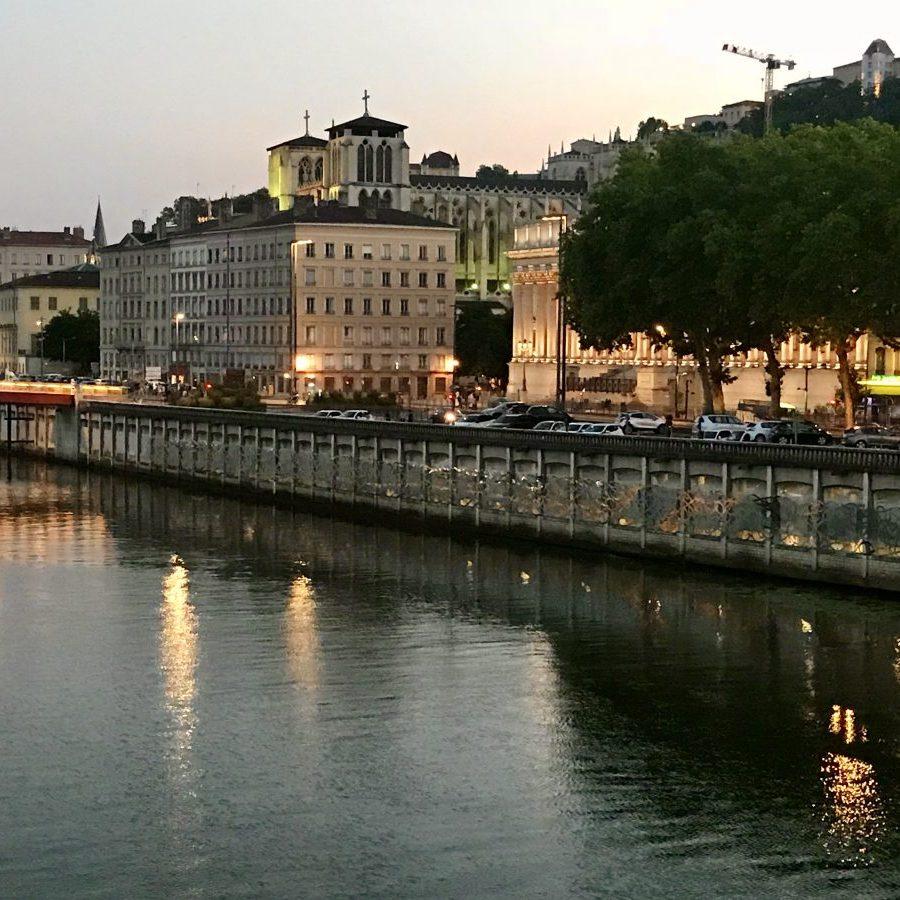 Lyon, France – Saône at night