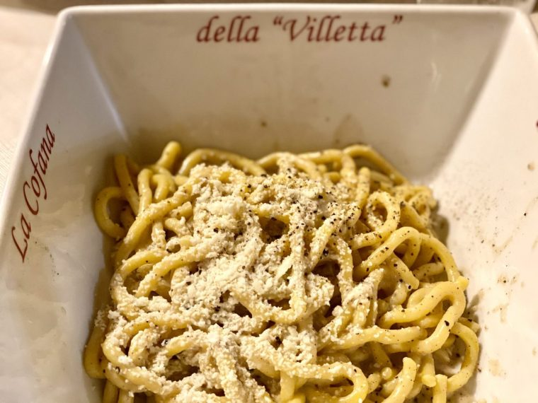 Cacio e pepe pasta at La Villetta