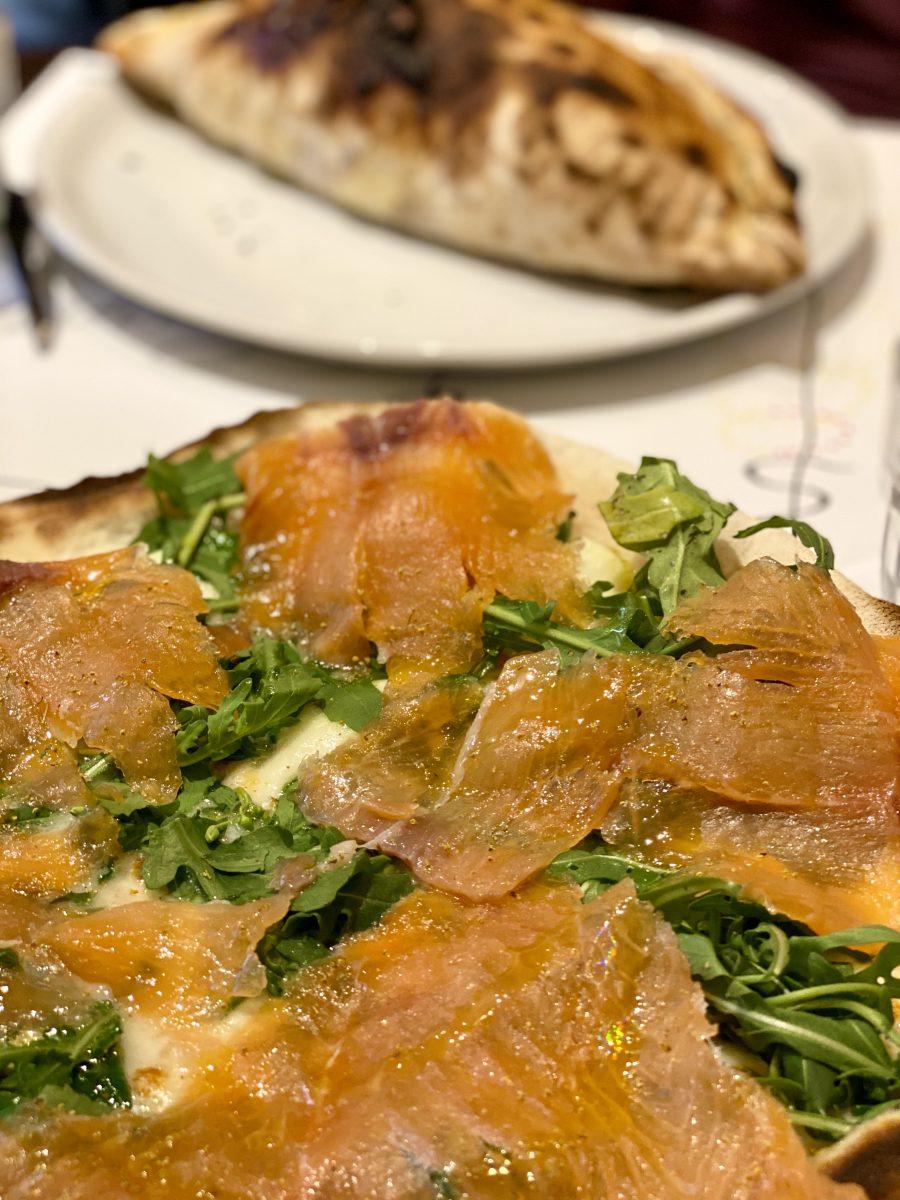 salmon pizza at Emma